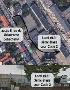 Photo vue du ciel : accès au local de l'Amicale Laïque Longchamp